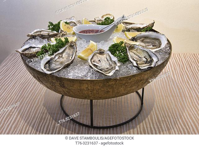 Gourmet oysters at a French restaurant in Bangkok, Thailand