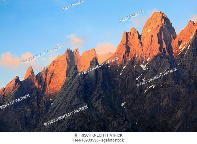 Evening, evening light, Alps, afterglows, afterglows, mountain, mountains, mountain massif, Bern, Bernese Oberland, Engelhörner, rock face, spring, mountains