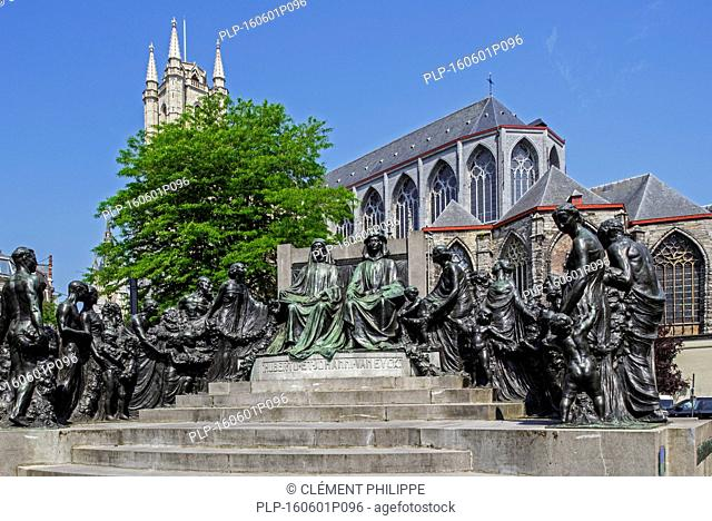 Monument in honour of the Van Eyck brothers, Jan and Hubert, painters of the Ghent Altarpiece / Adoration of the Mystic Lamb in Ghent, Belgium