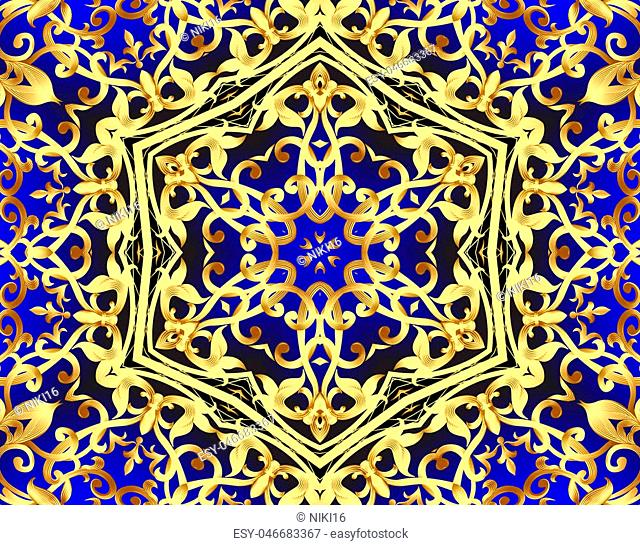 illustration background with gold pattern