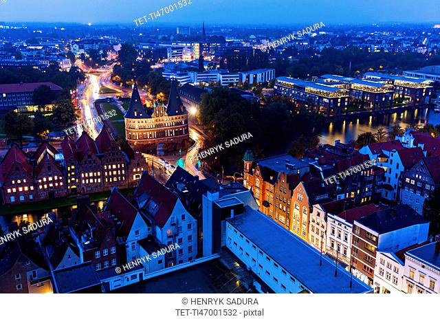 Aerial view of Lubeck with Holstentor Lubeck, Schleswig-Holstein, Germany