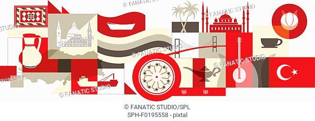 Illustration of Turkey over white background