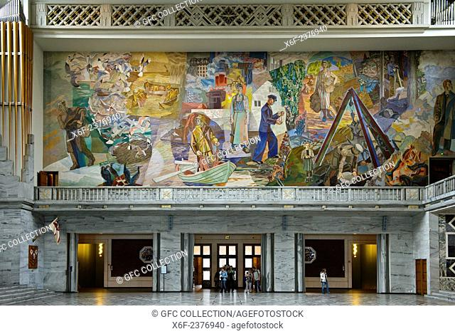 "Mural""""Folket i arbeid og fest"""" by Alf Rolfsen at the North wall of the Central Hall of the Oslo City Hall, venue of Nobel Peace Prize Cermony, Oslo, Norway"