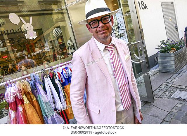 Gothenburg, Sweden May 31, 2018 Candid street photo of Joakim Dahl. Honorary Consul. Consulate of the Republic of Kazakhstan, dressed in pink