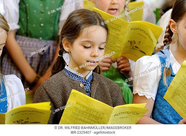 Girl singing in a children's choir, Bavaria, Germany, Europe