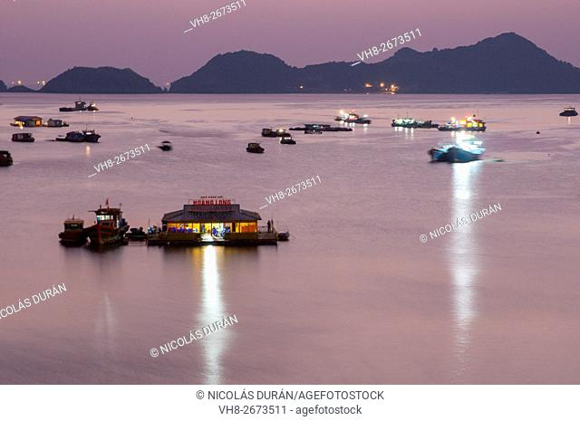 Sunset in Bay Cat Bát. Cat Bat Island. Halong Bay. Vietnam