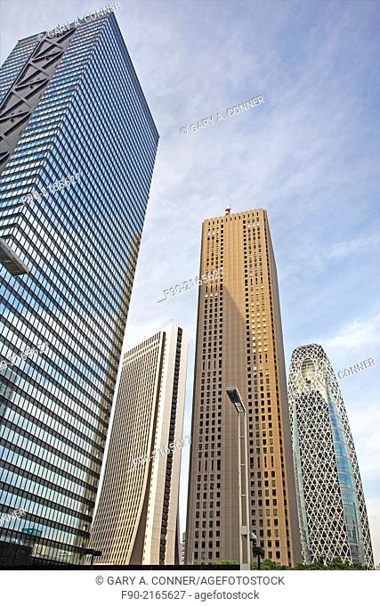 Modern buildings with different architectural styles in Shinjuku, Tokyo, Japan