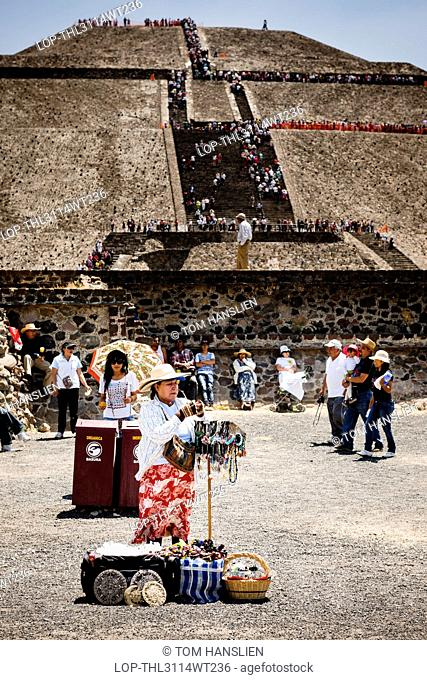 Mexico, Federal District, Mexico City. One of many souvenir vendors in front of the Pyramid of the Sun at Teotihuacan in Mexico City