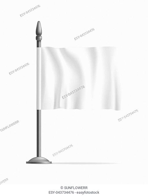 White waving flag streamer, template, isolated. Outdoors information ridgepole for inscriptions, slogans, mottos and so on. illustration of canvas
