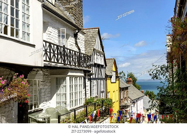 street and sea at Clovelly, Devon, foreshortening of main street in historic fishing village on Devon northern coast