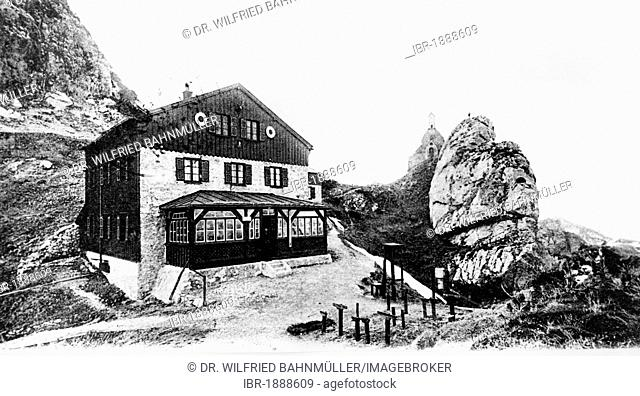 Mountain lodge with Wendelstein chapel, Wendelstein, Upper Bavaria, Germany, Europe, historical postcard, about 1900