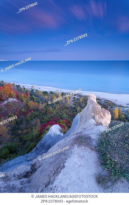 Trees along the shore of Lake Ontario, taken from atop the Scarborough Bluffs. Scarborough, Ontario, Canada