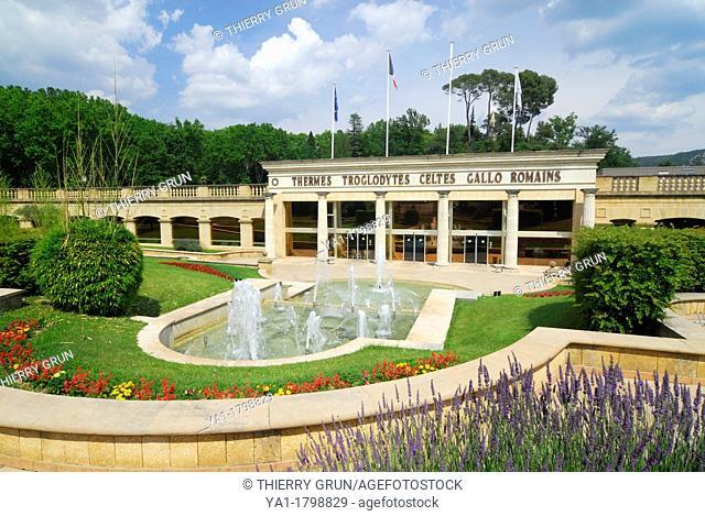 Entrance of old roman troglodyte thermal baths, Greoux les bains, Alpes de Haute Provence, France