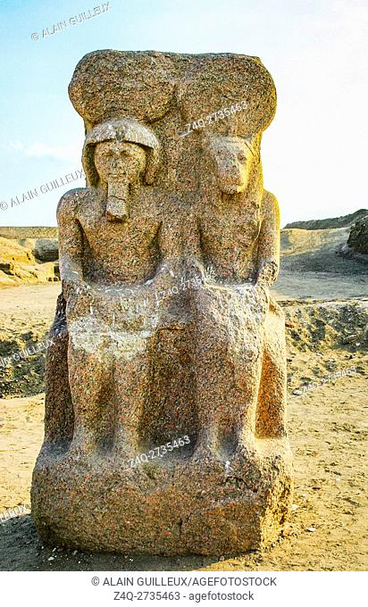 Egypt, Nile Delta, Tanis, the temple of Mut and Khonsu, previously called temple of Anta : Dyad of the King Ramses as god Khonsu, with his symbolic mother Mut