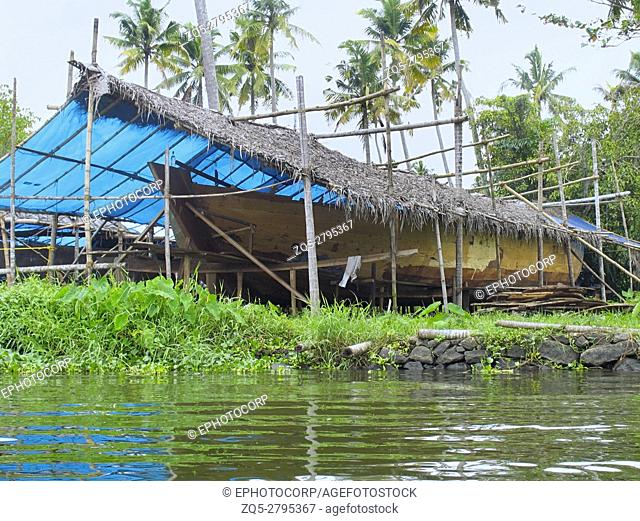 Making of Houseboat. These house boats are very popular in Kerala, India