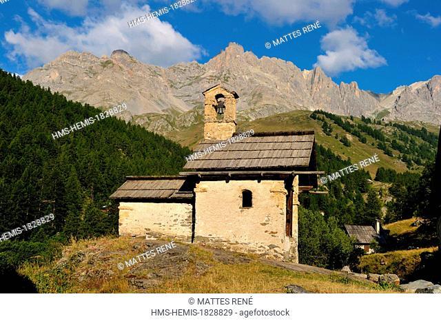 France, Hautes Alpes, Brainconnais, Valley of Claree, Nevache, hamlet of Fontcouverte, chapel St. Marie or chapel of Fontcouverte