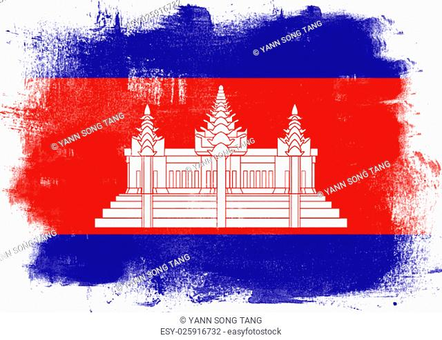 Flag of Cambodia painted with brush on solid background