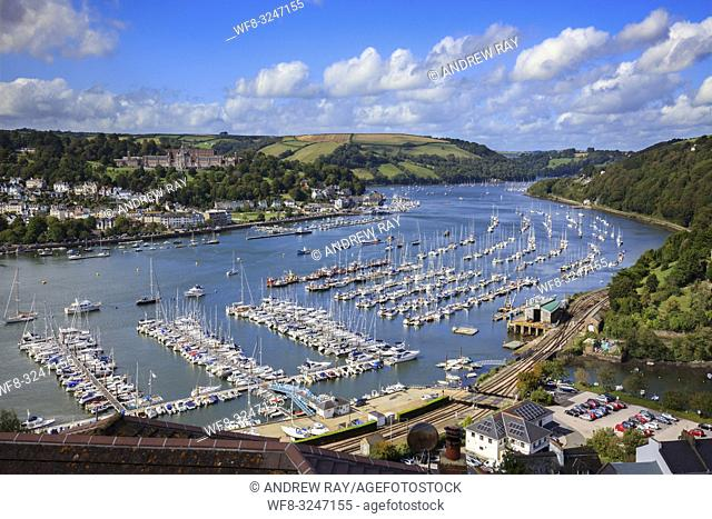 The River Dart captured in September from a high vantage point above the Devon village of Kingswear, with the Britannia Royal Naval College at Dartmouth in the...