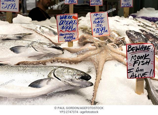 Seattle, Washington: Wild salmon and octopus for sale at Pike Place Fish Market