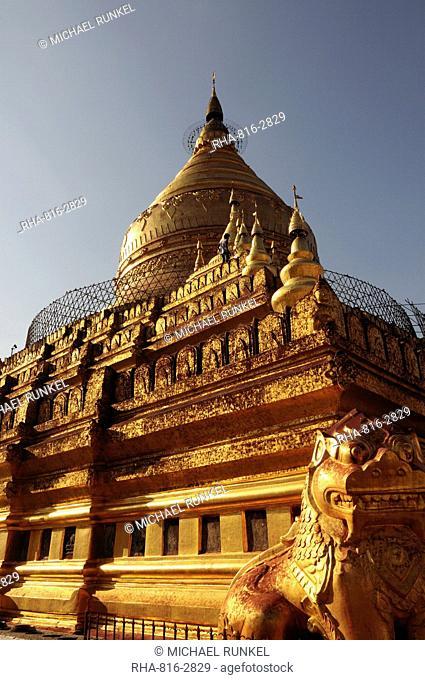 Shwe Zigon Paya, near Bagan, Myanmar, Asia