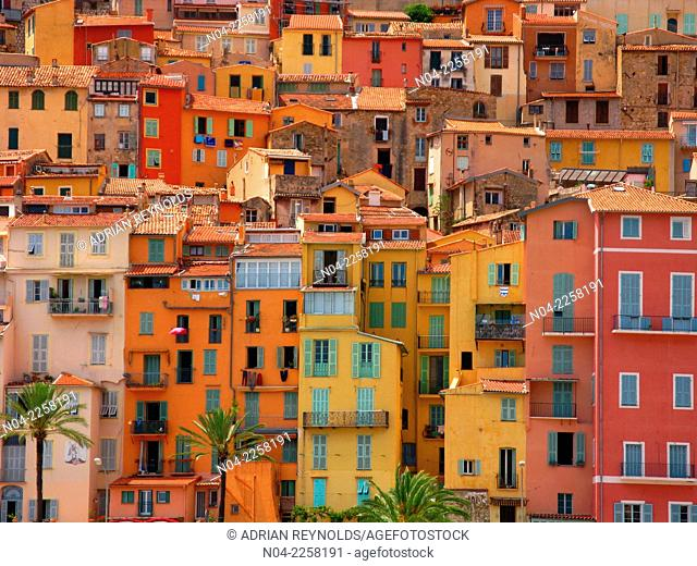 Colorful apartments in the harbor at Menton, France