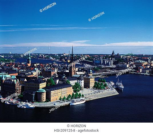 Travel, Sweden, Stockholm, View of the Old City