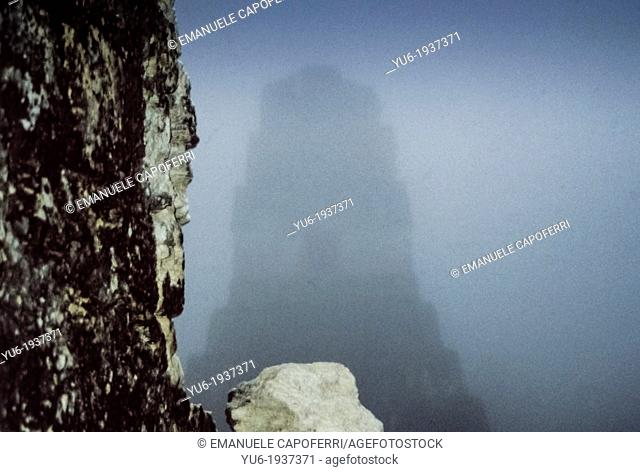 Temple of Tikal in the morning with the fog, National Park of Tikal, Mayan archaeological site, UNESCO World Heritage Site, El Peten, Guatemala