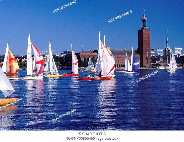 Sails on Riddarfjarden with Stockholm City Hall during Sailboat Day in September, Sweden