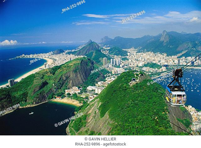 Rio and the Copacabana Beach from Pao de Acucar Sugar Loaf, Rio de Janeiro, Brazil