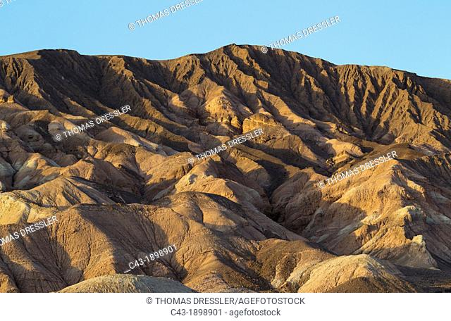 Badlands at the western foothills of the Grapevine Mountains in the Death Valley  Death Valley National Park, California, USA