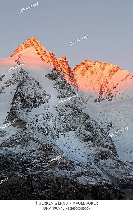 Grossglockner summit at sunrise, High Tauern National Park, Carinthia, Austria