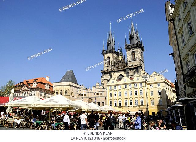 The Church of Our Lady before Tyn is a dominant feature of the Old Town of Prague,Czech Republic,and has been the main church of this part of the city since the...