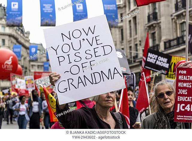 Anti-dementia tax placard, Not One Day More - Tories Out National Demonstration, an Anti-Government and Teresa May protest organised by an anti-austerity...