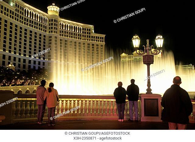 musical fountain at The Bellagio Resort Hotel Casino, Las Vegas, state of Nevada, United States, North America