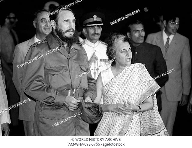 Fidel Castro and Prime Minister Indira Gandhi of India, meeting at the 7th Non-Aligned Movement summit in Delhi, 1983