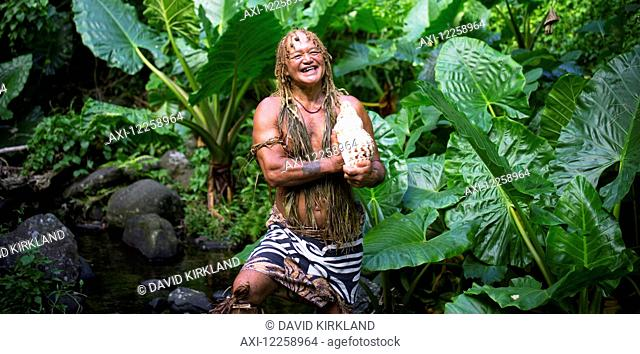 Pa, a well known storyteller and tour guide on the Cook Islands; Rarotonga, Cook Islands
