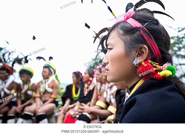 Naga tribal woman in traditional outfit in Hornbill Festival, Kohima, Nagaland, India