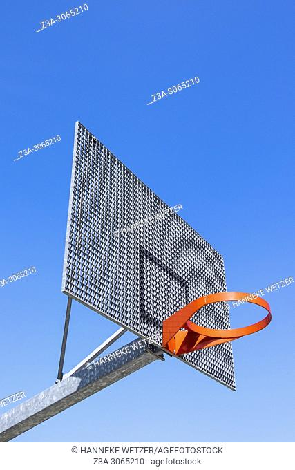 Outdoors basketball hoop with backboard in Brussels, Belgium, Europe
