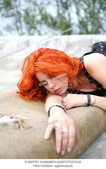 pretty redhead girl lying