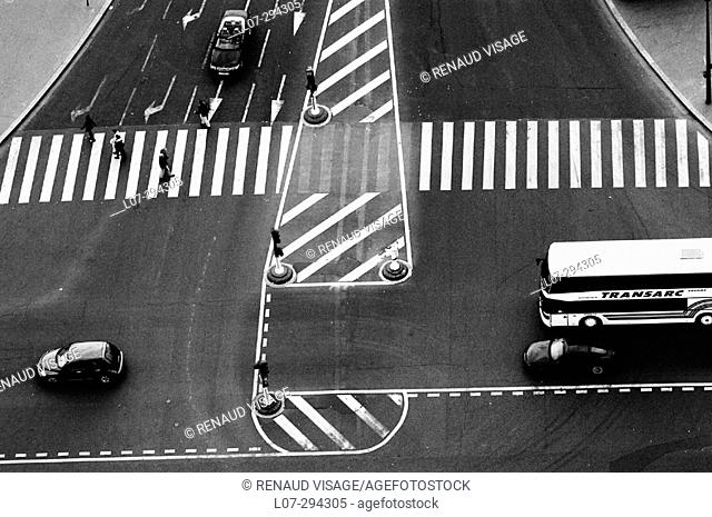 Intersection and crosswalks seen from above. Paris. France