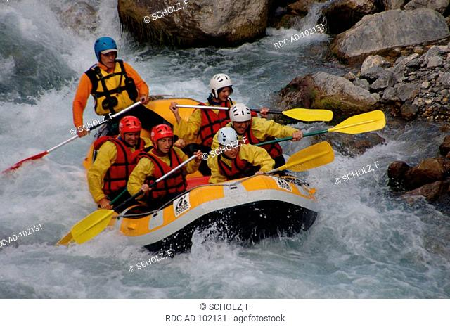 Rafting on river near Chateau Queyras Hautes-Alpes France