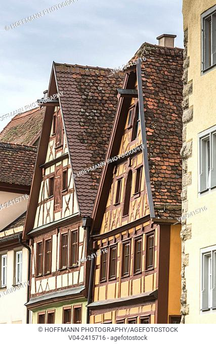 Close up of beautiful timbered houses at the market square in Rothenburg ob der Tauber, Bavaria, Germany, Europe