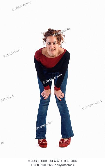 Woman with blue jeans and white background