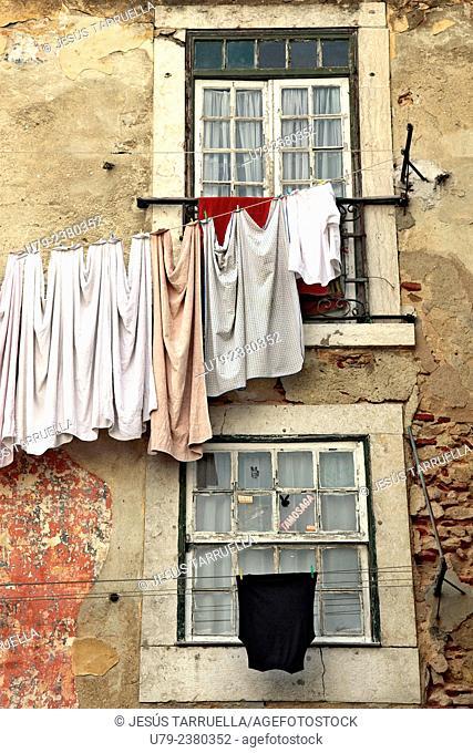 Clothesline. Lisbon. Portugal Europe
