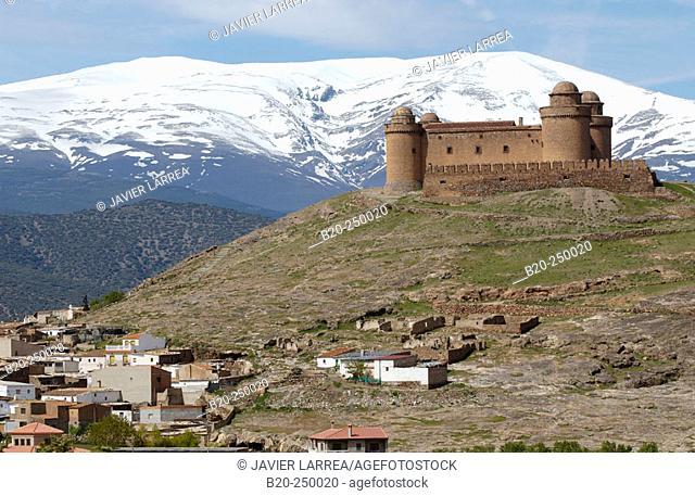 Lacalahorra Castle and Sierra Nevada mountains. Granada province. Spain