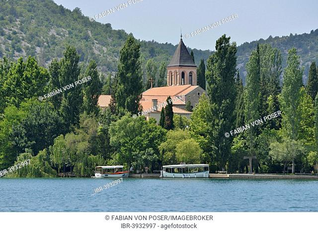 Visovac Monastery on the island of Visovac, Krka National Park, Šibenik-Knin County, Dalmatia, Croatia