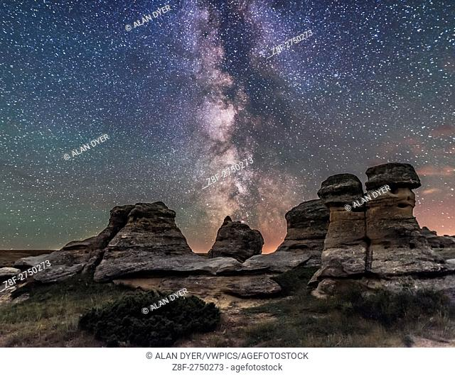The summer Milky Way over the sandstone formations at Writing-on-Stone Provincial Park in southern Alberta, on a dark of the Moon night, July 31, 2016