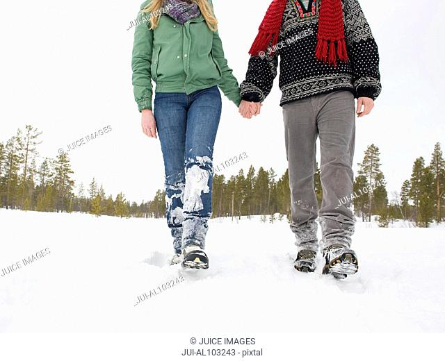 Close-up of a couple walking hand in hand through the snow