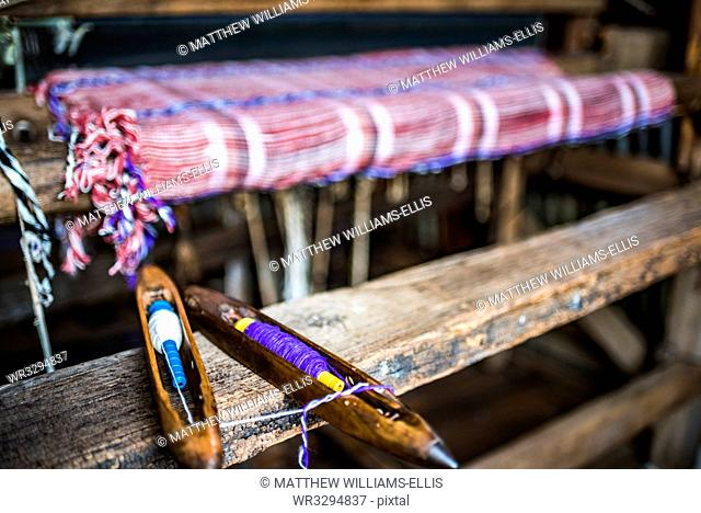 Weaving at Inle Lake, Shan State, Myanmar (Burma), Asia
