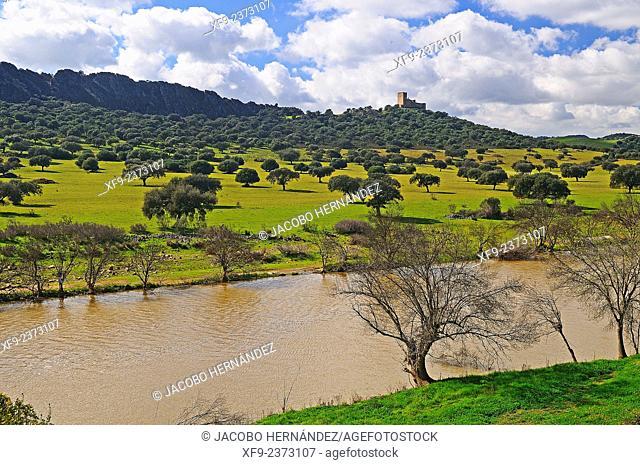 Castle of Madroñiz and Zújar river, Los Pedroches region, Córdoba province, Andalusia, Spain
